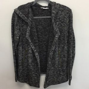 BB Dakota | Marled Black Moto Hooded Cardigan | S